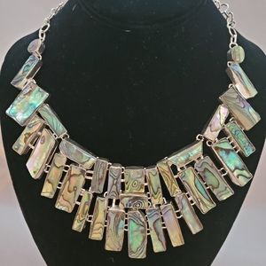 Large Abalone Silver Plate Necklace.Adjustable.
